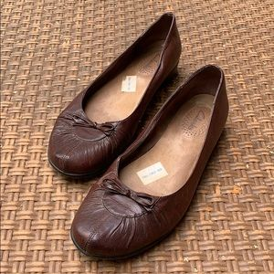 Clark's• Brown Leather Ballet Flats